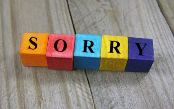 concept of sorry word on wooden colorful cubes